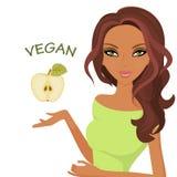 Världsdag av vegetarianism Isolerad vitbakgrund Kvinnahand som rymmer Apple Arkivfoton