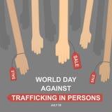 Världsdag mot människohandeln i personer, 30 Juli royaltyfri illustrationer