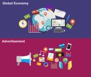 Världsekonomi- och annonseringillustrationbegrepp Arkivbilder