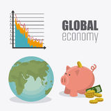 Världsekonomi, pengar och affär Arkivbild