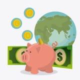Världsekonomi, pengar och affär Arkivfoto