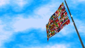 Världsflaggaanimering arkivfilmer