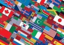 Världsflaggabakgrund som är klar för din text & design Arkivfoton
