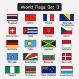 Världsflaggauppsättning 3 enkel stil- och lägenhetdesign tjock översikt stock illustrationer