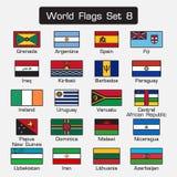 Världsflaggauppsättning 8 enkel stil- och lägenhetdesign tjock översikt vektor illustrationer