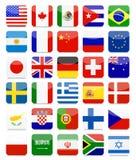Världsflaggor sänker den fyrkantiga symbolsuppsättningen royaltyfri illustrationer