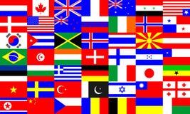 Världsflaggor ställde in mångkulturell prima bransch stock illustrationer