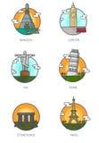 Världsgränsmärken Arkivbild