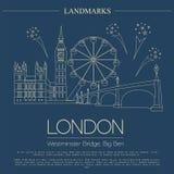 Världsgränsmärken London förenat kungarike Westminster abbotskloster, bet stock illustrationer