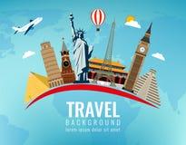 Världsgränsmärken Lopp- och turismbakgrund Plan illustration för vektor vektor illustrationer