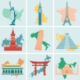 Världsgränsmärken sänker symbolsuppsättningen Resa och turism vektor Arkivbild