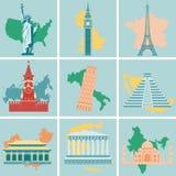 Världsgränsmärken sänker symbolsuppsättningen Resa och turism vektor Royaltyfri Foto