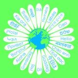 Världshälsningdag Begreppet av aktionen för fred Tusenskönablomman mitt är planetjorden På kronbladen - ordhelvetet royaltyfri illustrationer