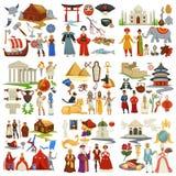 Världshistoria och epoker för för landskulturresande och utforskning stock illustrationer