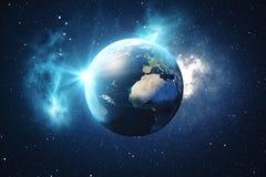 världsjordklot för tolkning 3D från utrymme i en himmel för natt för visning för stjärnafält med stjärnor och nebulosan sikt för  stock illustrationer