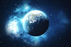 världsjordklot för tolkning 3D från utrymme i en himmel för natt för visning för stjärnafält med stjärnor och nebulosan sikt för  Arkivfoto