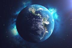 världsjordklot för tolkning 3D från utrymme i en himmel för natt för visning för stjärnafält med stjärnor och nebulosan sikt för  Arkivfoton