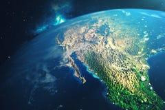 världsjordklot för tolkning 3D från utrymme i en himmel för natt för visning för stjärnafält med stjärnor och nebulosan sikt för  Fotografering för Bildbyråer