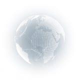 Världsjordklot med skugga på grå färger Abstrakta anslutningar för globalt nätverk, bakgrund för begrepp för teknologi för geomet Arkivbild