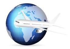 Världsjordklot och flygplan stock illustrationer