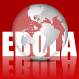 Världsjordklot och ord Ebola i rött vektor illustrationer