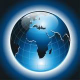 Världsjordklot på mörker - blå bakgrundsvektor Royaltyfri Fotografi