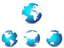 Världsjordklotsymboler ställde in, med olika kontinenter i fokus stock illustrationer