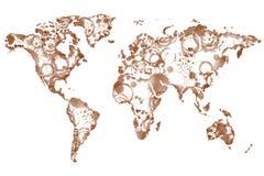 Världskaffeöversikt royaltyfri illustrationer
