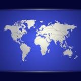 Världskarta av blå nätverkande Fotografering för Bildbyråer