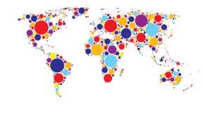 Världskarta av kulöra cirklar, flerfärgad modell royaltyfri illustrationer