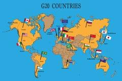 Världskarta av länderna G20 med flaggor stock illustrationer