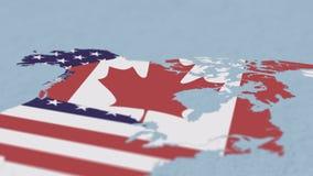 Världskarta av Nordamerika och att fokusera på Kanada royaltyfri illustrationer