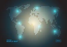 Världskarta av runda prickar vektor illustrationer