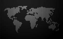 Världskarta av vita linjer Royaltyfri Bild