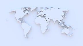 Världskarta blå 3D Royaltyfria Foton