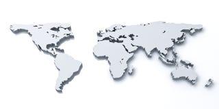 världskarta 3d över vit bakgrund Arkivfoton