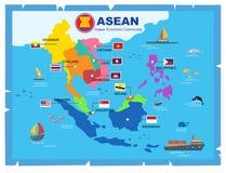 Världskarta för ekonomisk gemenskap för AEC-ASEAN royaltyfri illustrationer