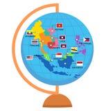 Världskarta för ekonomisk gemenskap för AEC-ASEAN stock illustrationer