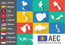 Världskarta för ekonomisk gemenskap för AEC-ASEAN med en plan stil och fla Royaltyfri Bild