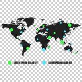 Världskarta för kommunikationsnätverk Vektorillustration på isolat royaltyfri illustrationer