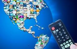 Världskarta för televisionTV-sändningmultimedia Royaltyfri Foto