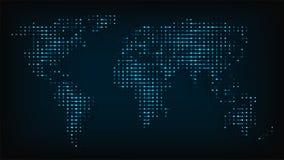 Världskarta från illustration för vektor för nattljus abstrakt Royaltyfria Bilder