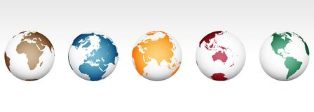 Världskarta - hög detaljerad vektor stock illustrationer