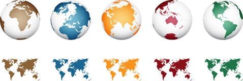 Världskarta - hög detaljerad vektor royaltyfri illustrationer