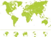 Världskarta - hög detaljerad vektor vektor illustrationer