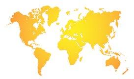 Världskarta i färgad guld Royaltyfria Bilder
