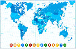 Världskarta i färger av blåa och färgrika översiktspekare Royaltyfria Bilder