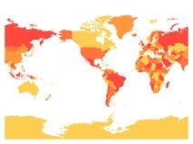Världskarta i fyra skuggor av rött på vit bakgrund Hög centrerad politisk översikt för detalj Amerika också vektor för coreldrawi stock illustrationer