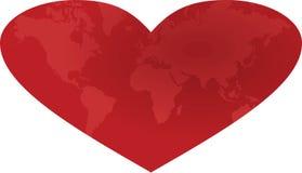 Världskarta i hjärta Royaltyfri Bild