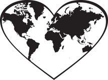 Världskarta i hjärta Arkivbilder